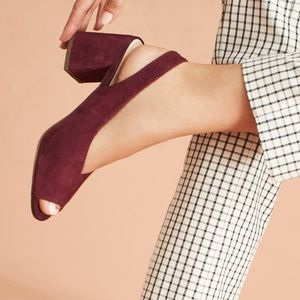 Seychelles Playwright Burgundy Red Suede Heels